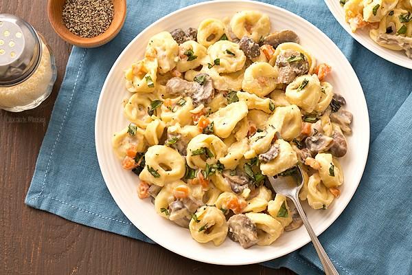 Portobello Mushroom Cheese Tortellini with alfredo sauce