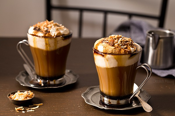 Mocha Drink With Dark Chocolate Bar
