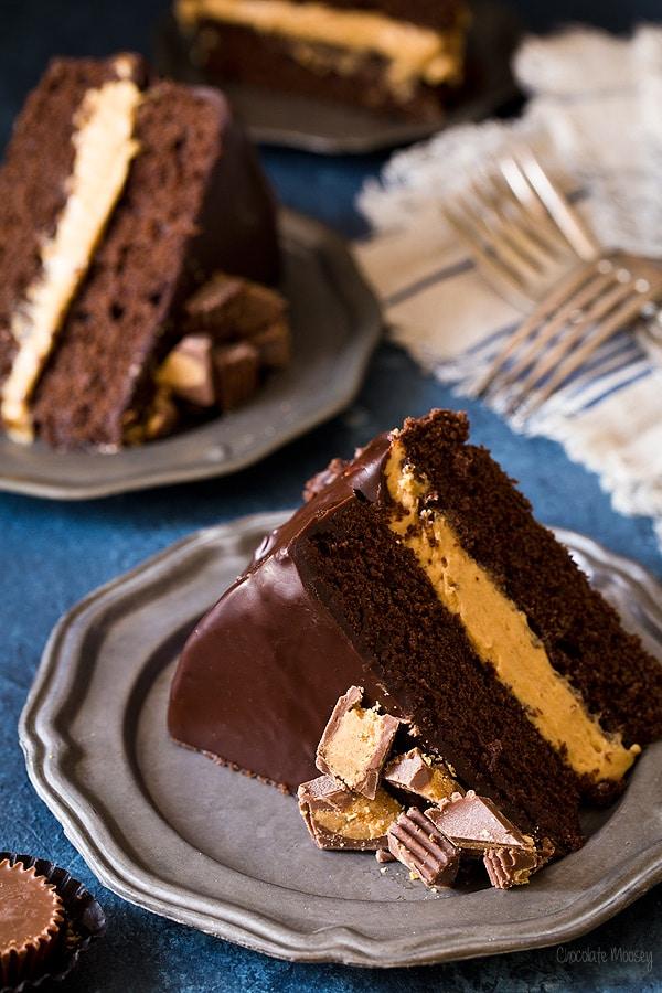 Buckeye Layer Cake (Chocolate Peanut Butter Fudge Cake)