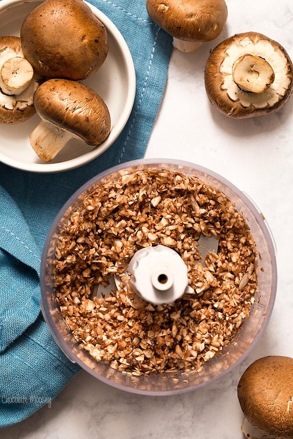 Chopping mushrooms for Greek Baked Eggs