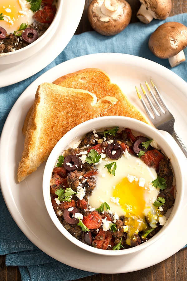 baked eggs made with lamb mushrooms kalamata olives tomatoes and feta ...