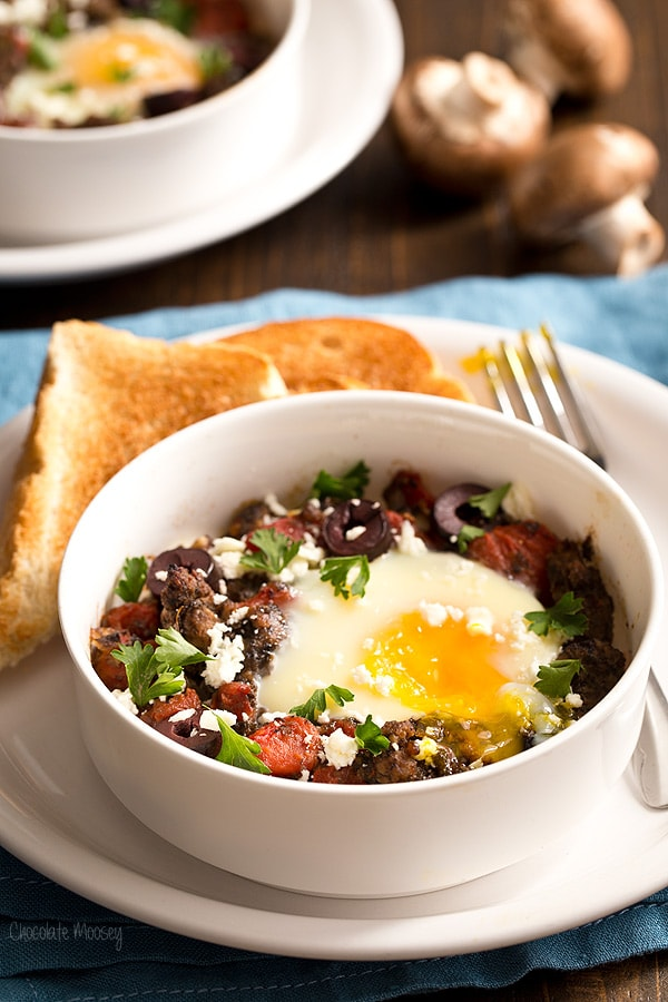 Greek Baked Eggs With Lamb and Mushrooms