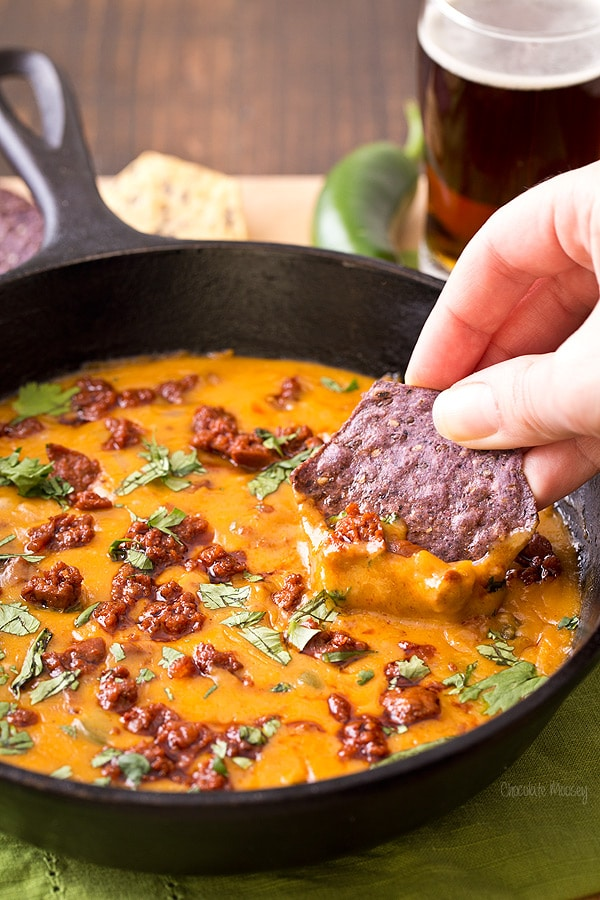 Mexican Beer Cheese Dip with chorizo and jalapeno