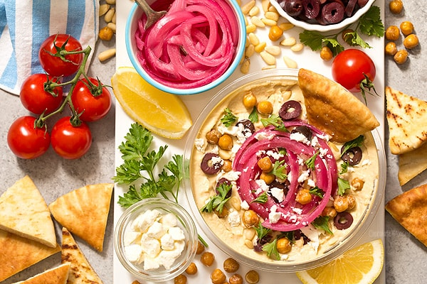 Pickled Red Onions and Hummus Bar