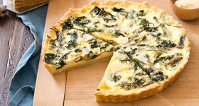 Spinach Parmesan Quiche with homemade pie crust