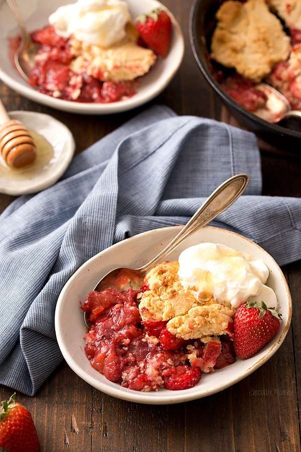 Strawberry Shortcake Cobbler with Honey Whipped Cream