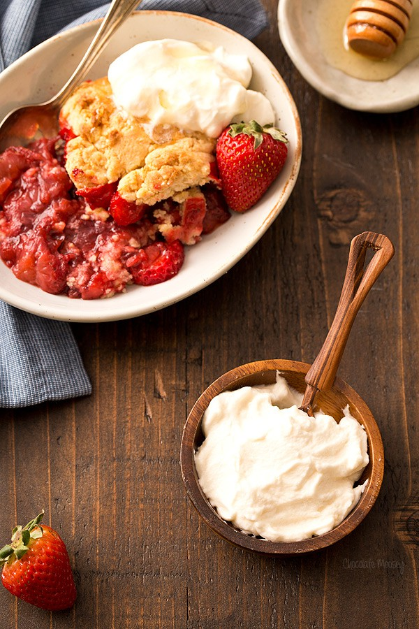 Honey Whipped Cream for Strawberry Shortcake Cobbler