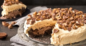 Buckeye Ice Cream Cake (Chocolate Peanut Butter Ice Cream Cake)