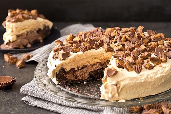 Buckeye Ice Cream Cake (Chocolate Peanut Butter)