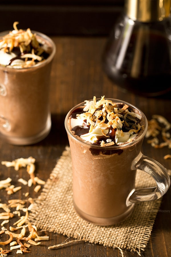One sip of Toasted Coconut Frozen Hot Chocolate made with coconut milk and you'll be whisked away to paradise. Easily makes two drinks in a blender.