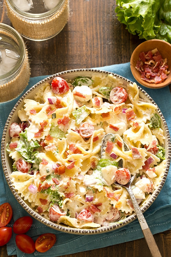 Because your pasta salad shouldn't be boring! BLT Pasta Salad with homemade ranch dressing, tomatoes, lettuce, and of course plenty of crispy bacon.