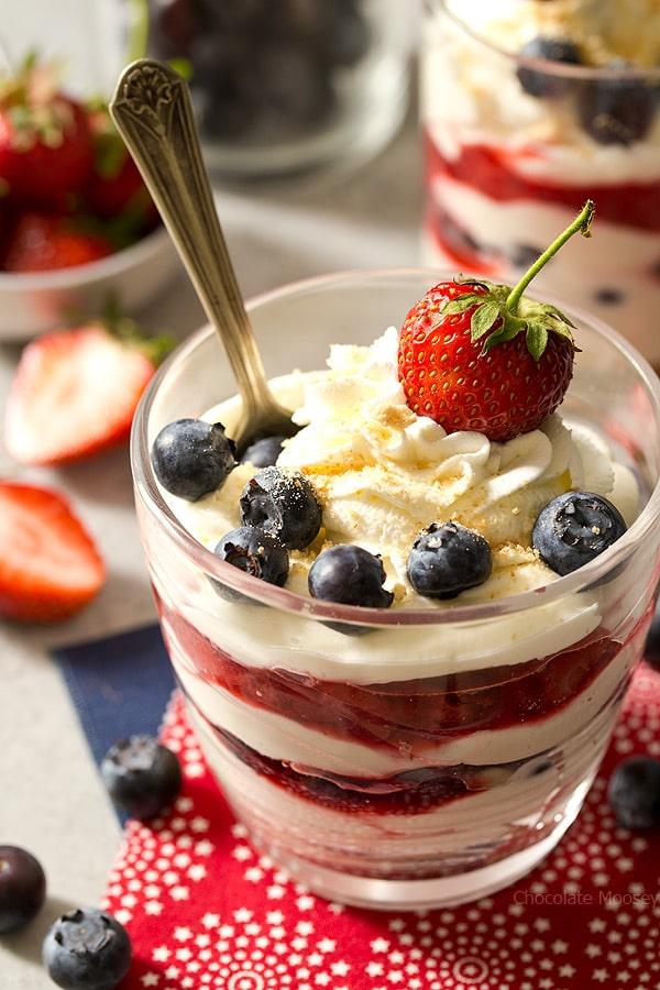 No Bake Mixed Berry Cheesecake Parfaits - Chocolate Moosey