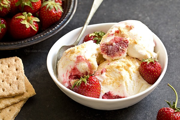 Craving cheesecake but too hot to bake? This no cook eggless Strawberry Cheesecake Ice Cream layered with strawberry sauce and graham cracker crumbs will satisfy your sweet tooth even during summer's hottest days.