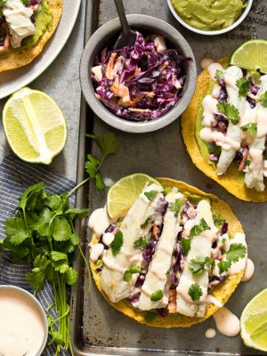 Sweet Chili Fish Tostadas