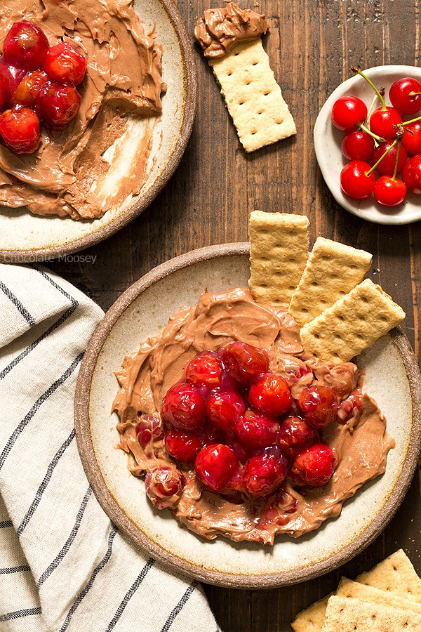 When you're craving cheesecake but only want a few bites - small batch no bake Chocolate Cherry Cheesecake Dip made with homemade cherry pie filling