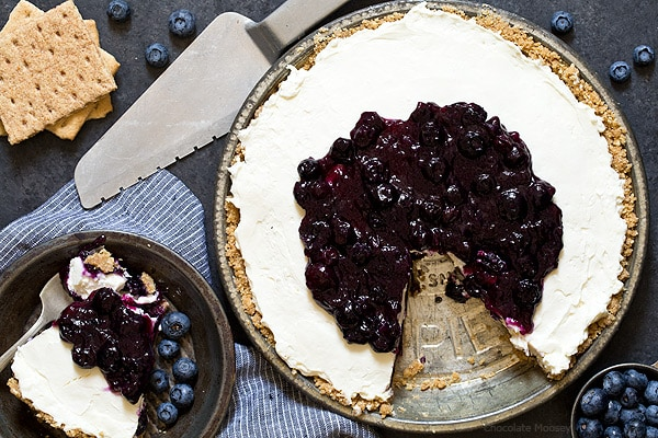 No Bake Blueberry Cheesecake Pie made with homemade blueberry pie filling using fresh blueberries