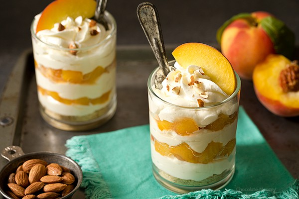 No Bake Peaches and Cream Cheesecake Parfaits - a refreshing, cool way to end your summer evening. Made with homemade whipped cream (no Cool Whip)