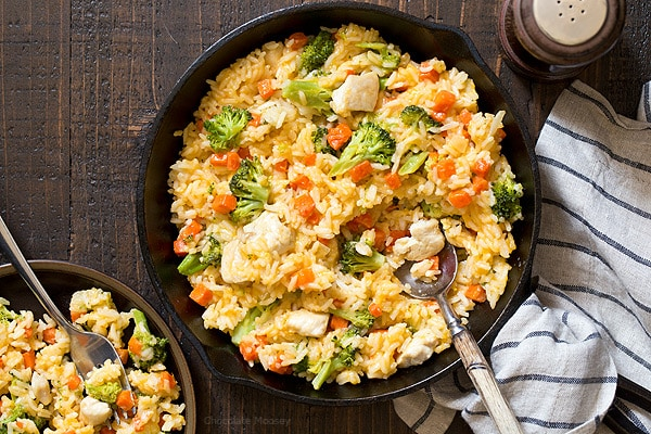 The perfect solution for a home-cooked dinner after a busy day - One Pan Cheesy Chicken Broccoli Rice Skillet