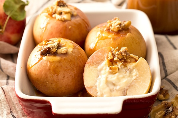 A new way to eat baked apples - Caramel Cheesecake Stuffed Apples with walnuts sweetened with caramel sauce. Makes 4 apples for dessert.