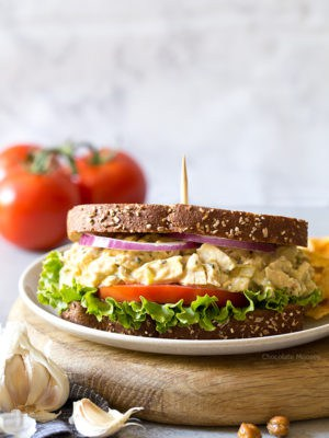 Garlic Hummus Chicken Salad Sandwiches with a creamy garlic hummus spread - pack them for lunch or have them ready for dinner when you know you won't have time to cook.
