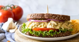 Garlic Hummus Chicken Salad Sandwiches