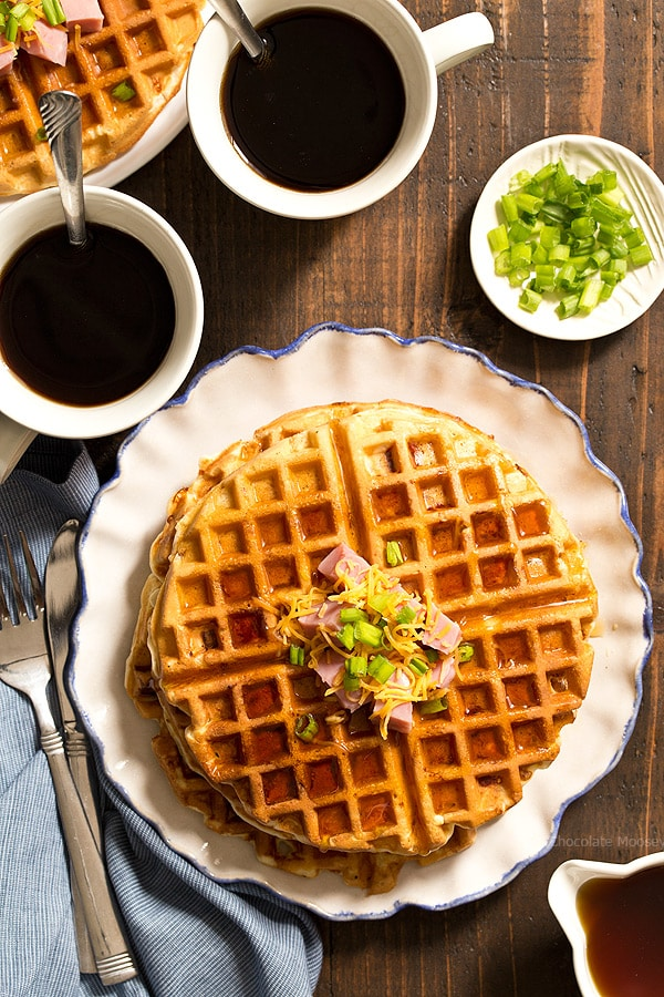 Need a little help in the mornings? Ham and Cheese Waffles can be made and frozen ahead of time, making them ready for breakfast in minutes. Ideal to serve for breakfast, brunch, and brinner.