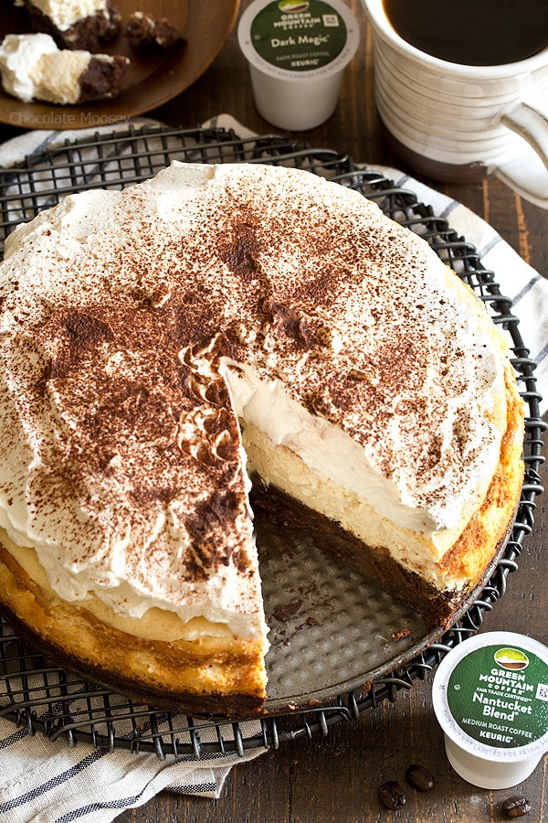 Looking for a caffeine boost? You're going to need a slice of Mocha Brownie Cheesecake with coffee whipped cream to go along with your cup of coffee.
