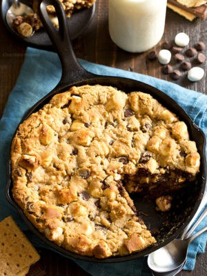 Peanut Butter S'mores Chocolate Chip Skillet Cookie