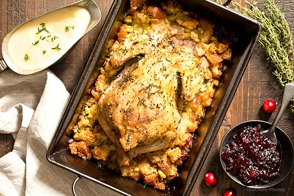 Don't want to roast a whole turkey this year for Thanksgiving? Keep it small by roasting a Cornish Hen with Homemade Classic Stuffing plus a menu for hosting Thanksgiving For Two.