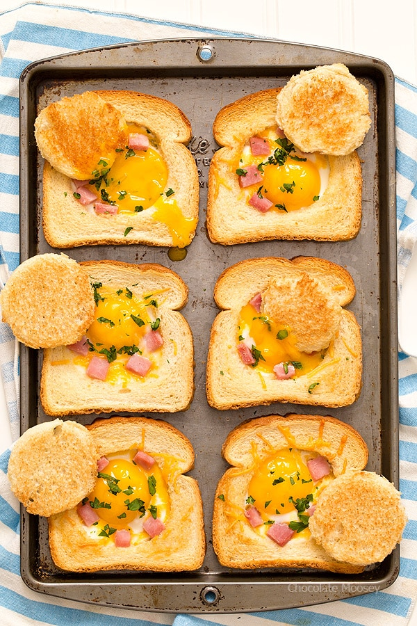 Ham and Cheese Baked Eggs in Toast - Chocolate Moosey
