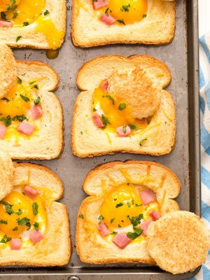 Ham and Cheese Baked Eggs in Toast