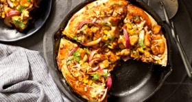 BBQ Chicken Skillet Pizza For Two