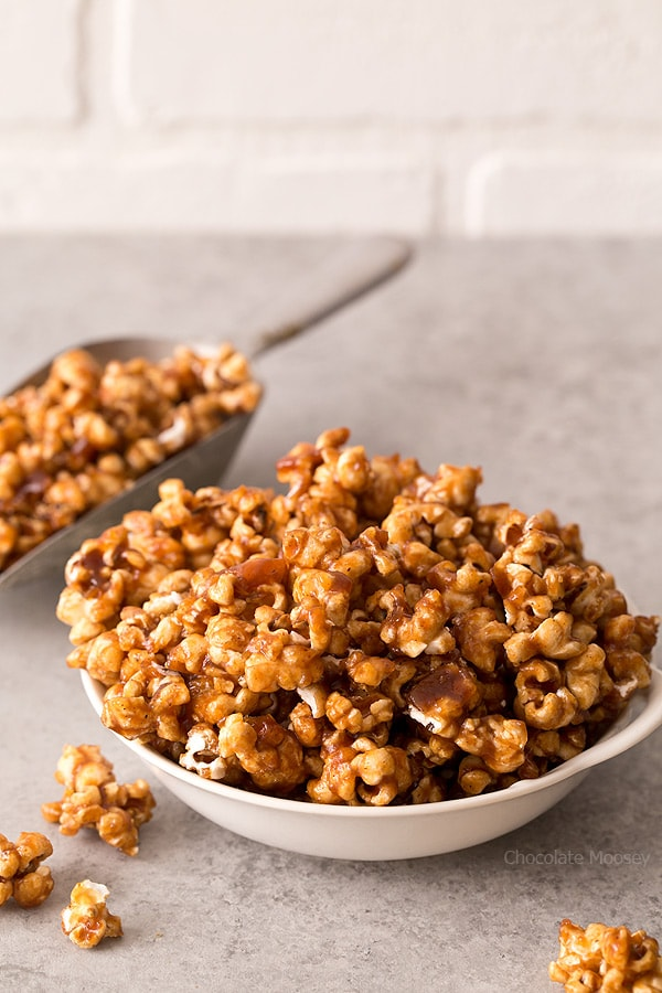 Whether you're watching your favorite TV show or need snacks for a big party coming up, sweeten up your popcorn bowl with Caramel Apple Butter Popcorn.