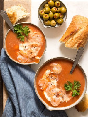 Turn your favorite brunch drink into a meal with one pot Bloody Mary Tomato Soup with shrimp for two! Serve it hot for comfort food or serve it cold for a refreshing meal.