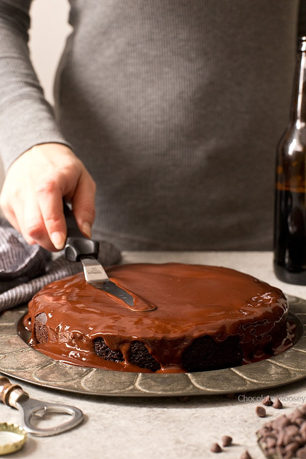 When you're in the mood for a simple cake without the fuss: one layer Chocolate Stout Cake with stout beer ganache. Make it to celebrate St. Patrick's Day or to satisfy your cake craving.