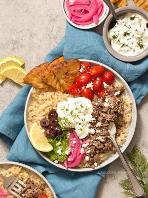 Slow Cooker Gyro Rice Bowls