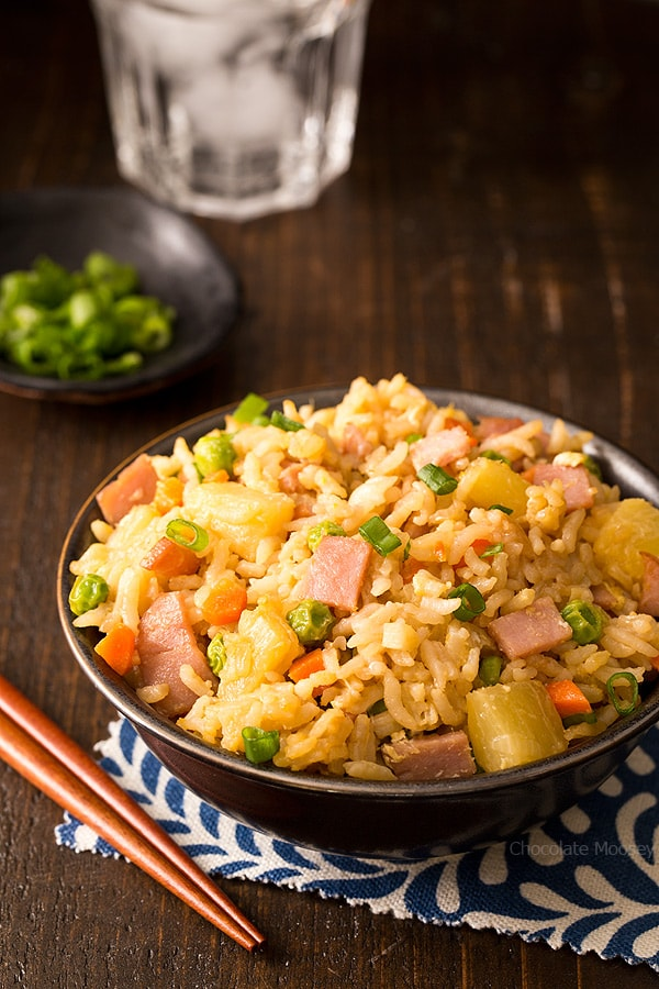 Hawaiian Fried Rice with ham and pineapple is an easy side dish to make when you're in the mood for Chinese takeout but need to keep an eye on your spending. Great way to use up leftover ham!