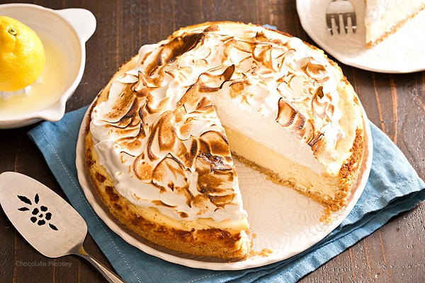 Forget the pie! Satisfy your lemon craving with Lemon Meringue Cheesecake with toasted meringue and a buttery shortbread cookie crust.