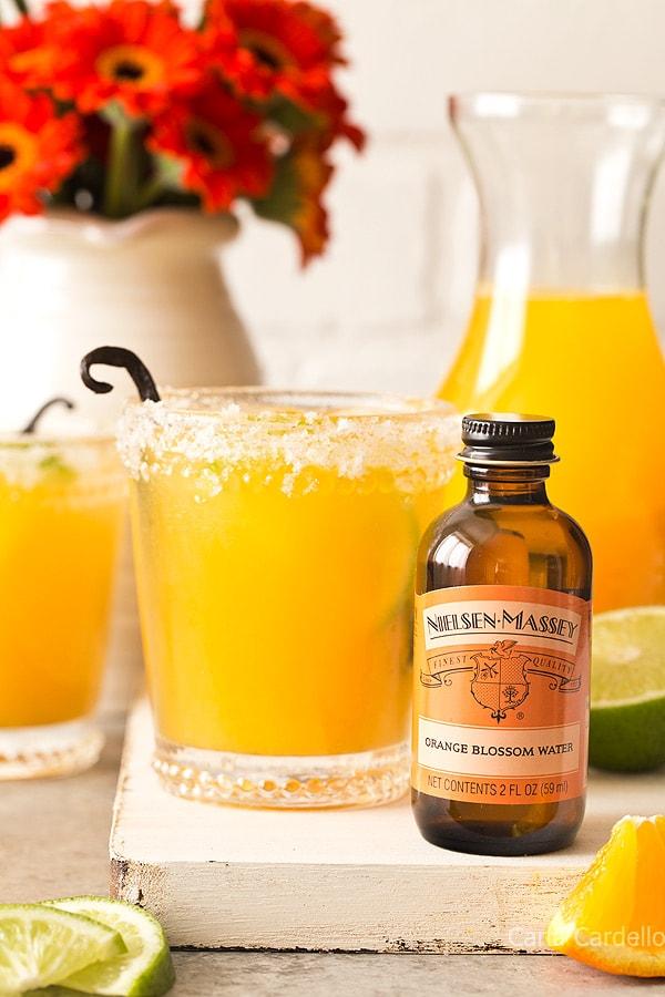 Small Batch Orange Vanilla Margaritas made with orange blossom water