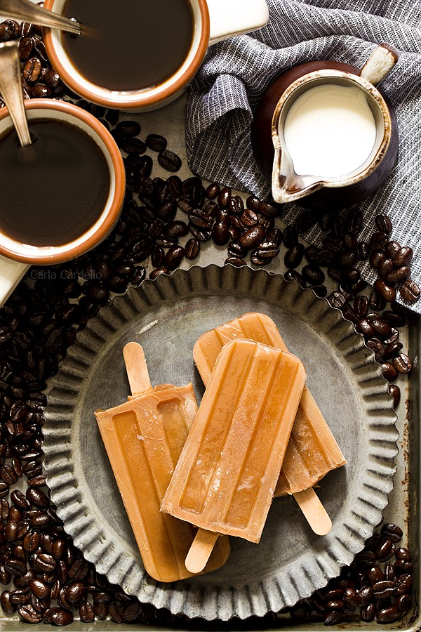 When it's hot outside and you need a caffeine boost while cooling down, keep these 3 ingredient Iced Coffee Popsicles in your freezer to get you through the day.