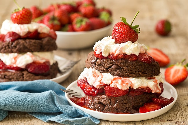 Learn how to make strawberry shortcake from scratch with Chocolate Strawberry Shortcake filled with fresh strawberries and homemade whipped cream.