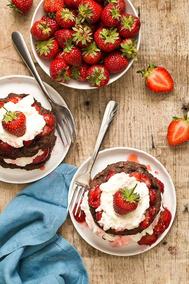 Strawberry Shortcake with chocolate and strawberry sauce