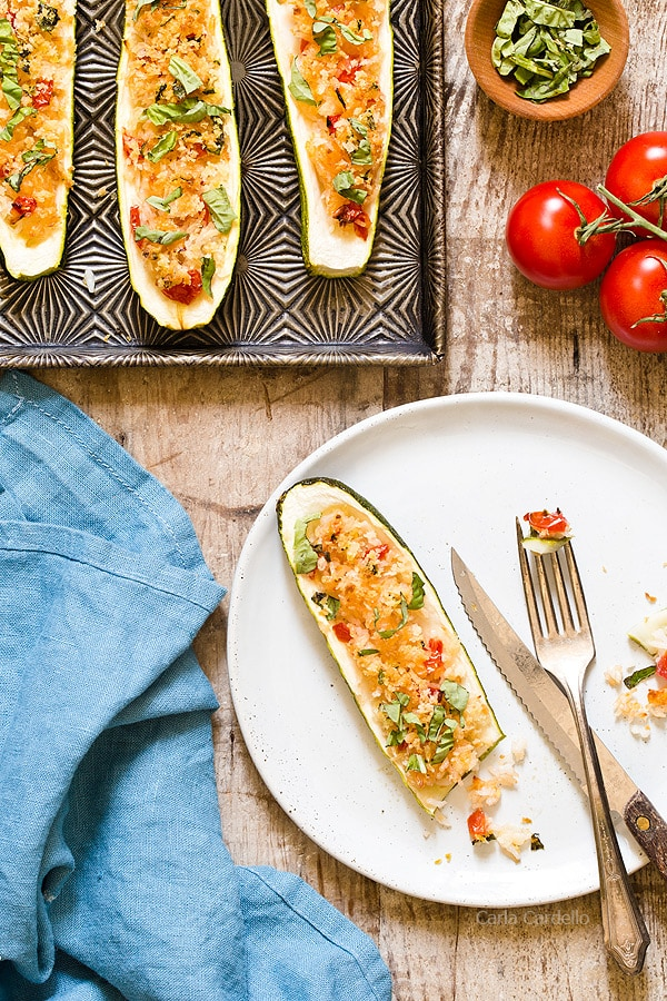 Garlic Parmesan Stuffed Zucchini Boats with rice and a crunchy panko topping