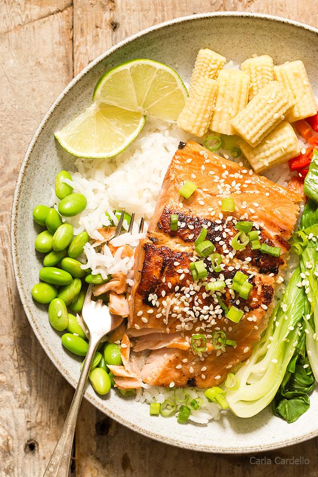 Asian Salmon with a ginger garlic marinade