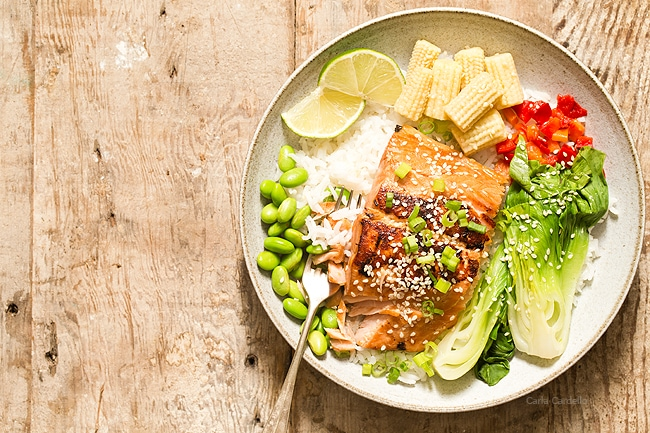 Asian Salmon with a ginger garlic marinade served over rice and vegetables