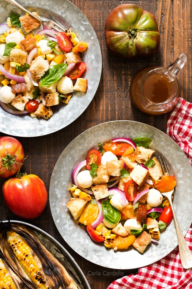 Grilled Corn Panzanella Salad - Chocolate Moosey