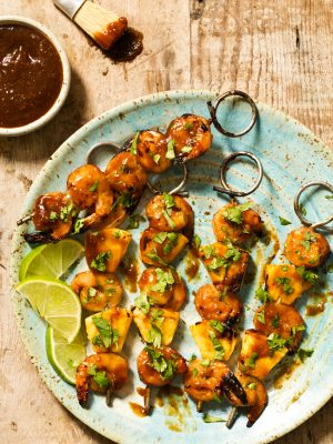 Grilled Pineapple Shrimp Teriyaki Kabobs