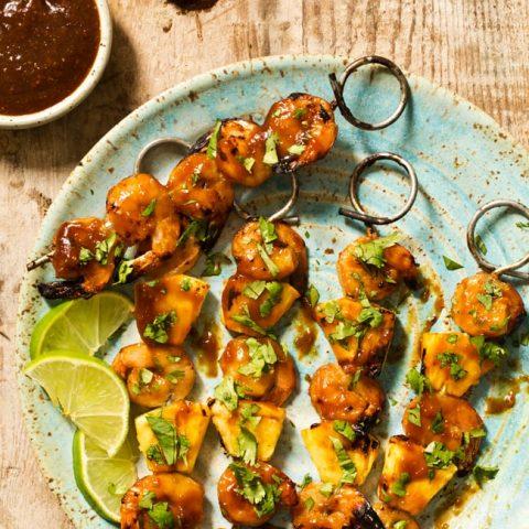 Grilled Pineapple Shrimp Teriyaki Kabobs