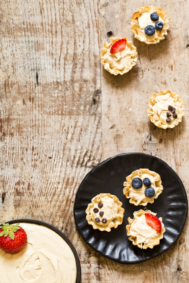 Peanut Butter Fruit Dip made with marshmallow creme and Greek yogurt served in phyllo cups