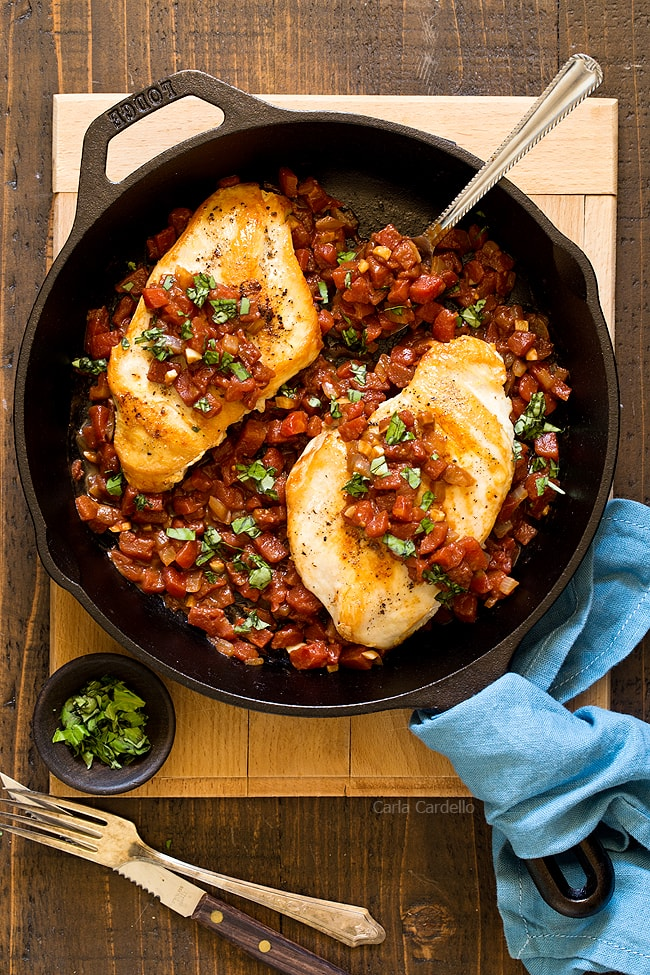 No more guessing what's for dinner when you can make Balsamic Tomato Skillet Chicken with ingredients in your pantry right now! Dinner for two is ready in under an hour.